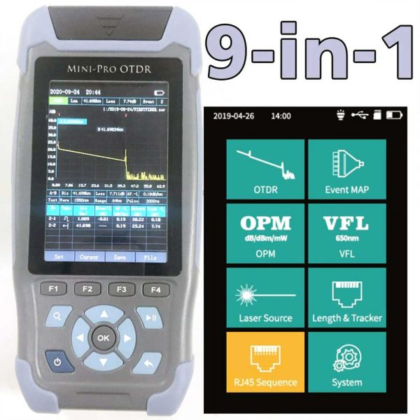 Mini pro OTDR Reflectometer 9 functions in 1 device OPM OLS VFL Event Map RJ45 Ethernet Cable Sequence Distance Tracker